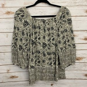 Lucky Brand Tops - Lucky Brand Printed Peasant Boho Blouse